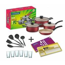 Bateria De Cocina + Cubiertos + Set De Menage + 6 Vasos